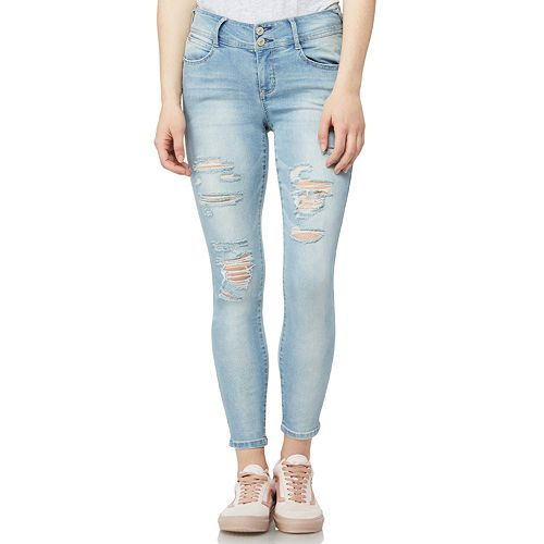 Juniors' Wallflower Mid-Rise Destructed Ankle Skinny Jeans