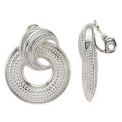 Napier Silver Tone Textured Doorknocker Clip-On Earrings