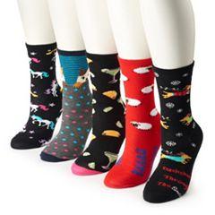 Women's 5-Pack Funny Crew Socks