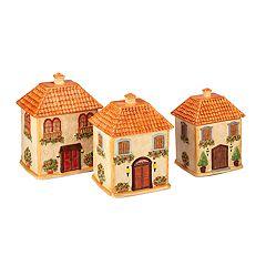 Certified International Piazette 3D Villa House 3-piece Canister Set