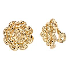 Napier Textured Swirl Clip-On Button Earrings