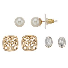 Napier Simulated Pearl, Simulated Crystal and Filigree Stud Earring Set
