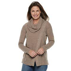 Women's Croft & Barrow® Cable-Knit Trim Cowlneck Sweater