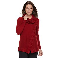 Women's Croft & Barrow® Cable-Knit Trim Cowlneck Sweater