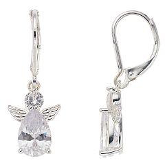 Napier Simulated Crystal Angel Drop Earrings