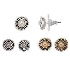 Napier Simulated Pearl Button Earring Set