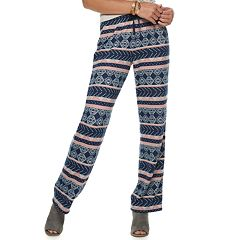 Juniors' Pink Rose Low-Rise Hatchi Wide-Leg Pants