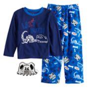 Boys 4-10 Up-Late  Dinosaur 2-Piece Fleece Pajama & Mask Set