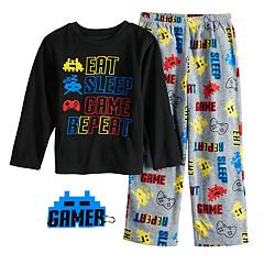 Boys 6-12 Up-Late  Gamer 2-Piece Fleece Pajama & Mask Set