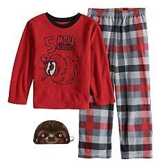 Boys 6-12 Up-Late  Sloth 2-Piece Fleece Pajama & Mask Set