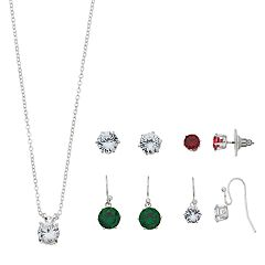 Silver Tone Red, Green & Crystal Cubic Zirconia Nickel Free Earring & Necklace Set