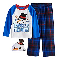 Boys 6-12 Up-Late Snowman 2-Piece Fleece Pajama & Mask Set