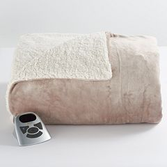 Biddeford Heated Velour Sherpa Blanket