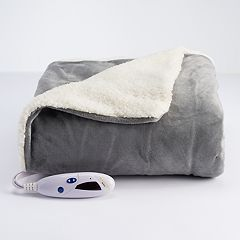 Biddeford Reversible Heated Sherpa Electric Throw