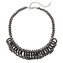 Napier Jet Tone Cluster Bead Collar Necklace