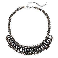 Napier Jet Tone Cluster Bead Collar Necklace
