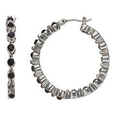 Napier Black Bead Hoop Earrings