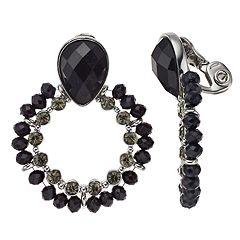 Napier Black Bead Clip-On Hoop Earrings