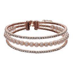 Napier Simulated Crystal & Simulated Pearl Multi Row Bracelet