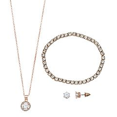 Cubic Zirconia Pendant Necklace, Earring & Bracelet Set
