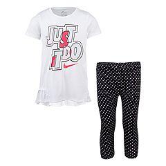 Girls 4-6x Nike 'Just Do It' Ruffled Tunic & Polka-Dot Leggings Set