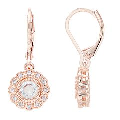 Napier Cubic Zirconia Scalloped Flower Drop Earrings
