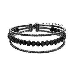 Napier Black Simulated Crystal Multi Row Bracelet