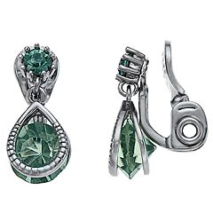 Napier Green Simulated Crystal Teardrop Clip On Earrings