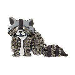 Napier Simulated Crystal Raccoon Pin
