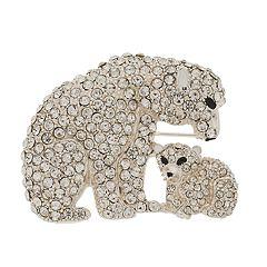 Napier Simulated Crystal Polar Bear Pin