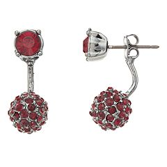 Simply Vera Vera Wang Red Simulated Crystal Front Back Earrings