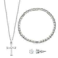 Cubic Zirconia Cross Pendant Necklace, Earring & Bracelet Set