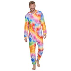 Men's Tie-Dye Bear Hooded Union Suit