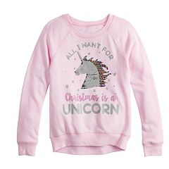 Girls 7-16 Christmas Unicorn Flippy Sequin Graphic Sweatshirt
