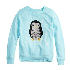 Girls 7-16 Ice Penguin Flippy Sequin Graphic Sweatshirt