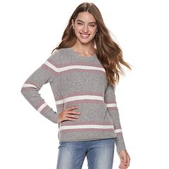 Juniors' Pink Republic Mossy Yarn Stripe Sweater