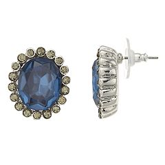 Simply Vera Vera Wang Simulated Crystal Oval Halo Stud Earrings