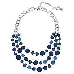Simply Vera Vera Wang Blue Bead Multi Row Statement Necklace