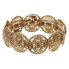 LC Lauren Conrad Gold Tone Filigree Stretch Bracelet