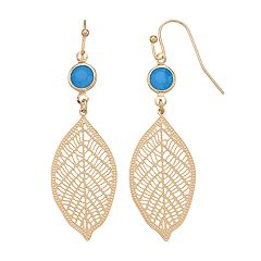 LC Lauren Conrad Nickel Free Filigree Leaf Drop Earrings