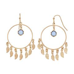 LC Lauren Conrad Nickel Free Leaf & Hoop Drop Earrings