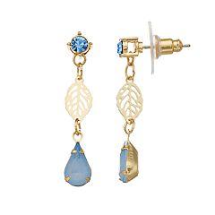 LC Lauren Conrad Beaded Nickel Free Leaf Drop Earrings