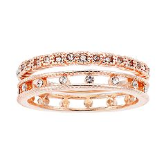 LC Lauren Conrad Rose Gold Tone Simulated Crystal Ring Set