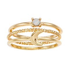 LC Lauren Conrad Gold Tone Simulated Crystal Moon Ring Set