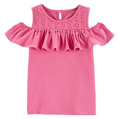 Girls 4-14 OshKosh B'gosh® Pink Eyelet Yoke Cold-Shoulder Ruffled Top