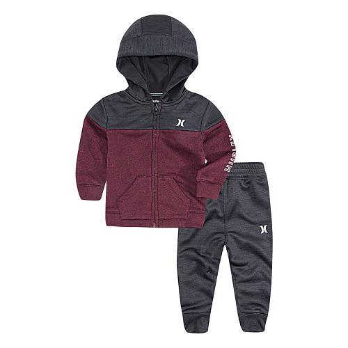 Baby Boy Hurley Dri-FIT Solar Red Zip Hoodie & Pants Set