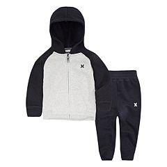 Baby Boy Hurley Fleece Raglan Zip Hoodie & Jogger Pants Set