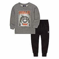 Baby Boy Hurley Shark Gray Sweatshirt & Pants Set