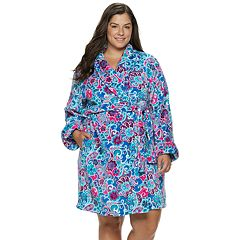 Plus Size INK + IVY Printed Plush Robe
