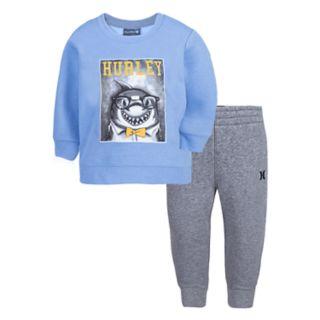Baby Boy Hurley Shark Sweatshirt & Pants Set